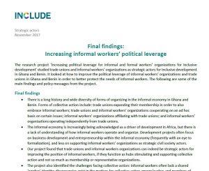 Final findings: Increasing informal workers' political leverage