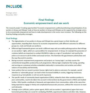 Final findings: Economic empowerment and sex work
