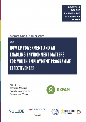 Youth in Africa face a myriad of constraints that affect their access to and success in the labour market. The current COVID-19 pandemic, which disproportionally affects young people, is putting further pressure on the job market. Youth employment programmes try to tackle these constraints, for example by providing training and skills development (supply side) or promoting entrepreneurship and supporting the development of small and medium enterprises (demand side), or through a combination of these. Some youth employment programmes also aim to empower youth and create a more enabling environment in which they can thrive in the labour market. However, we know very little about the importance of youth empowerment and the enabling environment for employment and business outcomes: this paper aims to address this gap by understanding how a focus on empowerment and an enabling environment matters for the effectiveness of youth employment programmes in Africa cover